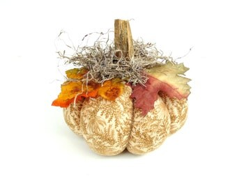 Fabric pumpkin, Thanksgiving pumpkin decor, country cottage chic, real stem, holiday decor, table centerpiece, golden brown