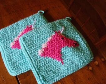 Pink Unicorn Potholders - Pink Horse Potholders - Aqua Potholders - Crochet Pot Holders - Crocheted Pot Holders - Hot Pads - Set of Two