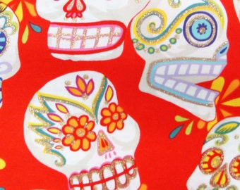"Sugar Skulls Day of the Dead Halloween Gothic Pattern Fabric, Red Color, Cotton Fabric , 18"" X 44"", , New, Rare"