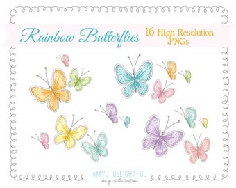 Pastel Rainbow Butterflies CLIP ART SET for personal and commercial use