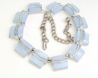 Powder Blue Necklace, Lucite, Thermoplastic, Silver Tone, Vintage