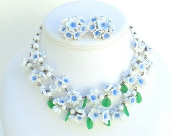 Jewelry Set, White and Blue, Glass, Necklace & Earrings, Clip On, Vintage
