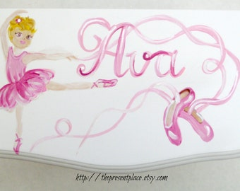 Large white hanging jewelry box,four drawers,hand painted, ballerina,roses,ballet shoes,Personalized jewelry box,girls jewelry box,ballet,