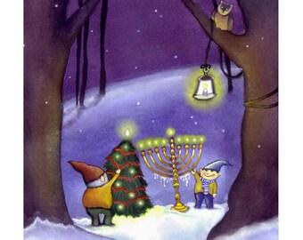 Christmas & Hannukah Card - Christmas and Hannukah Card - Happy Holidays Greeting Card - Christmas Elves Card