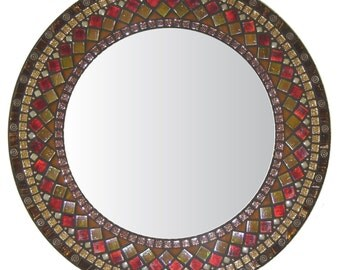 Ornate Mosaic Mirror - Brown, Copper, Red & Amber