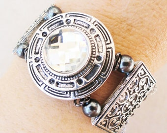 Art Deco Antiqued Silver and Gunmetal Pearl Memory Wire Bracelet Thick Cuff Beautiful Gladiator By Distinctly Daisy