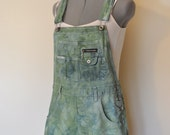 "Green Jrs. Large Bib OVERALL Shorts - Hand Dyed Apple Green ReVolt Cotton Denim Overall Shorts - Adult Womens Juniors Large (36"" Waist)"