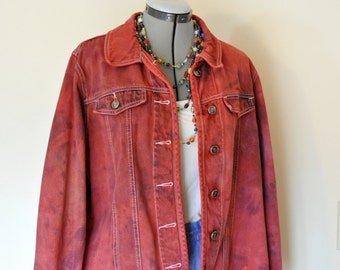"Red XL Denim JACKET - Red Orange Dyed Upcycled Cherokee Cotton Trucker Jacket - Adult Womens Extra Large (46"" chest)"