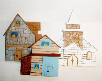 Village collection 7 houses for wreath basket fillers greeting cards artwork