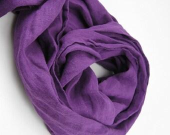 Handmade Linen Scarf --- Plum