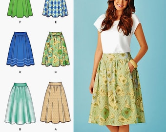 Skirt with Pockets Pattern, Gathered Skirt Pattern, Simplicity Sewing Pattern 1369