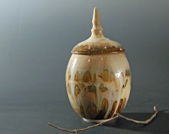 Lidded Jar, Ceramics and Pottery Jar, Cookie Jar, Urns for Ashes, Brown and White