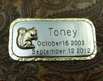 Memorial Cremation Box Marker Squirrel-Handmade Brass Squirrel Metal Tag for Cremation Box