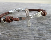 Sterling Silver Cross Leather Bracelet Mens Unisex Chocolate leather Artisan Handcrafted Bohemian Urban Modern