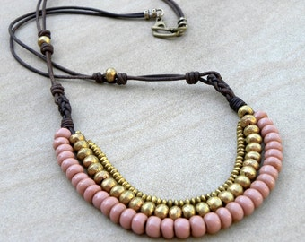 Old African Glass Brass Leather Long Necklace Bib Tribal Bohemian Mauve Pink OOAK Modern Urban
