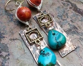 Coral and Turquoise Earrings, Pewter, Sterlings Silver filled, and Copper, Coral, Turquoise, ThePurpleLilyDesigns