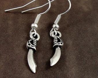 Sabre Sword Earrings, Silver Plated