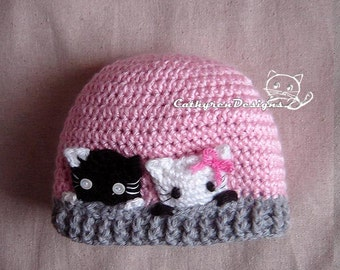 Curious Kitties Hat, New Born-Teen, INSTANT DOWNLOAD Crochet Pattern