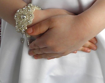 Flower Girl Rhinestone Crystal Bracelet Cuff with Ribbon Closure