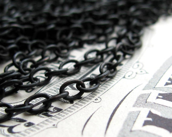 """Bulk brass chain - """"Monet"""" - 24ga oval soldered links, black brass cable chain, 4x3mm, antiqued brass chain (per foot) black chain"""