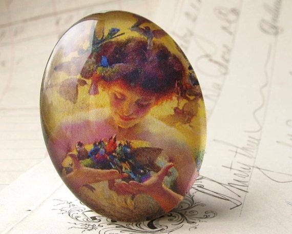 Art Nouveau Woman with Birds, handmade 40x30 40x30mm 30x40mm 40 30 mm glass oval cabochon, blue, orange, yellow
