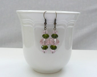 ndb-Olive and Pink Crystal Rondelle and Antique Bronze Dangle Earrings