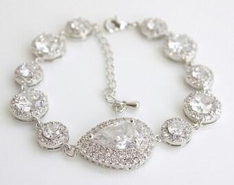 Crystal Wedding Bracelet, Silver Bridal Bracelet, Crystal Cubic Zirconia Bracelet, Bridal Jewelry, Ena Halo Bracelet