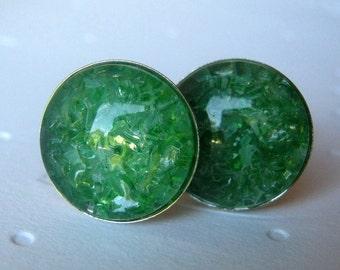 Emerald Cufflinks, Green Cufflinks, Gift for Men, Stained Glass, Round Cufflinks, Crystal Cufflinks, Cufflink Jewelry, Jewelry for Men