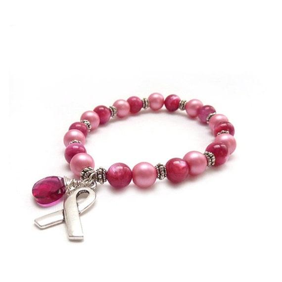 Breast Cancer Awareness Bracelet - Pink Beaded Bracelet - Swarovski Crystal Charm - Silver Ribbon - Donation - Survivor Bracelet