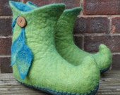 Felted Pixie  Boots - wet felted curly toed slipper boots - eco friendly