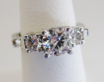 Gorgeous Vintage Sterling & Russian CZ Engagement Ring