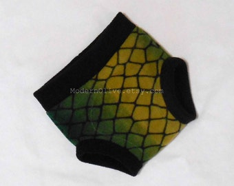 Large Anti-Pill Turtle Inspired Fleece Cloth Diaper/Underpants Cover/Cloth Pull Up Trainer (Soaker) READY TO SHIP, Green and Black Snake