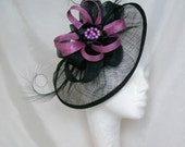Black Sinamay Saucer Curl Feather and Radiant Orchid Loop & Beaded Cecily Fascinator Hat - Custom Made to Order