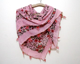 Pink Women's Scarves Vintage Scarf Dusty rose pink needle crochet cotton fabric shawl