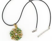 Green and Gold Chainmaille Charm Pendant with Black Cord Necklace