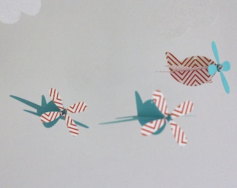 Baby Mobile, Airplanes in Orange Chevron and Aqua