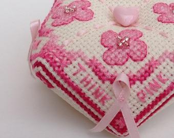 Think Pink! Breast Cancer Awareness Biscornu Pattern - Cross Stitch, PDF download