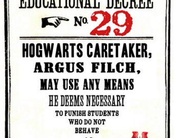 Educational Decree Wizarding Proclamation 29a (Filch may use any means) printable .pdf file