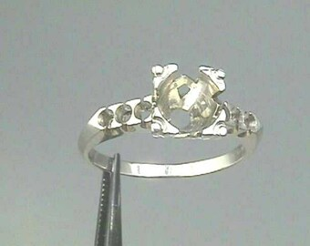 Art Deco 1 CARAT Platinum Ring Setting Mounting Engagement Wedding Ring for Diamond 6.5 mm (1 Carat) 1920s Fishtail Solitaire