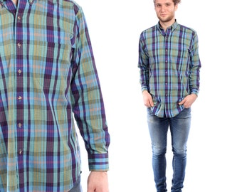PLAID Mens Shirt . Blue Checked Button Up Mens Grunge Slouchy Fit Boyfriend Gift Lumberjack Style Indie Work Wear . Small to Medium