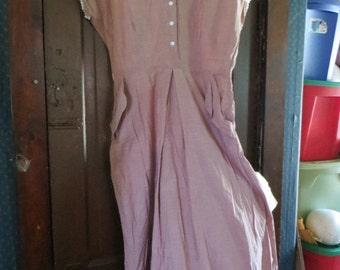 vintage Dress Jay Day   Dress/ 1940s Cotton   Dress holster pockets   w/ Eyelet  Detailing