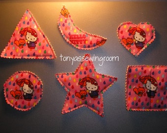 Hey Kitty-Fabric Basic Shapes Magnets Triangle, Heart, Circle, Square, Moon, Star