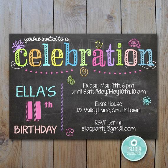 chalkboard invitation birthday neon colors chalk