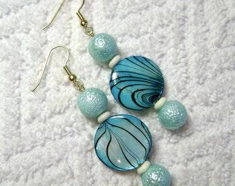 Blue Shell Earrings - Shell Earrings - Dangle Earrings - Earrings - Jewelry - E75
