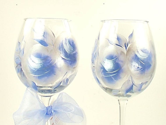 Hand-Painted Wine Glasses - Periwinkle Blue and Silver Large Roses, Set of 6 - Hostess Gift Summer Entertaining