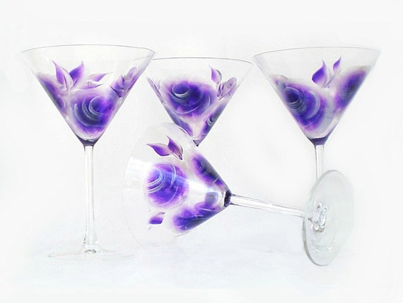 Hand-Painted Martini Glasses - Purple Amethyst and Silver Roses Set of 4 - 25th Anniversary Margarita Cocktail Glass Birthday Gift Idea