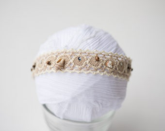 beach seashell natural cotton newborn baby girl headband halo photo prop READY TO SHIP