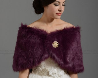 Purple faux fur wrap bridal wrap faux fur shrug faux fur stole shawl cape FW005-Purple regular / plus size