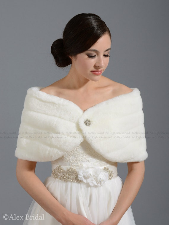 Off White Faux Fur Wrap Bridal Wrap Shrug Stole Shawl