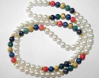 Vintage White Pearl Necklace, Multi color Stones,  Long Length 1970's
